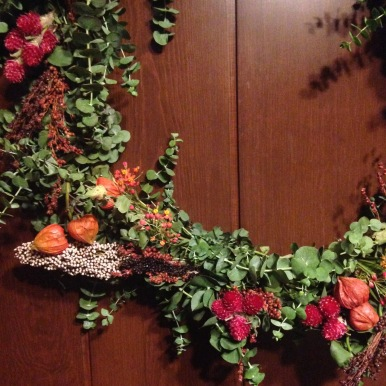 Dried Fall Wreath, all flora from St. Paul Farmer's Market