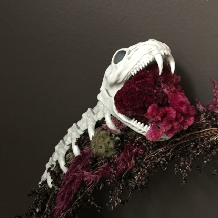 Halloween Forever Wreath (real dried flowers, faux skull)